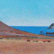 Playa los Genoveses, Almería. Acuarela y acrílico sobre papel, 15 x 42 cms.