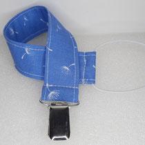 Nuggibändel aus Stoff: blau mit Pusteblume