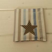Pixi-Buch-Hülle blau / beige gestreift Stern