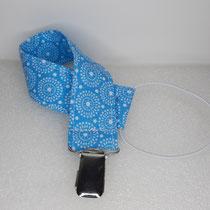Nuggibändel aus Stoff: blau mit weissen Kreisen