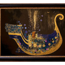 """ The Shipsong "" Fine Art Print with Swarovski Crystals and Metalfoils. Gilded from Hand."