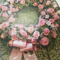 Kranz mit Rosen, Schleierband mit Aufschrift