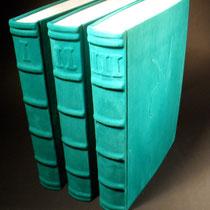 Asterix alle Hefte in drei grünen Lederbänden mit Asterix Relief N°541 I II III
