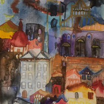 Cagliari I, Watercolors, 24 x 17 cm. Sold.