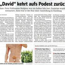 """WAZ Pressebericht v. 07.06.2013 """"David"""" kehrt auf das Podest zurück. Die Kosten für Restaurierung beliefen sich auf 30.000,- Euro."""