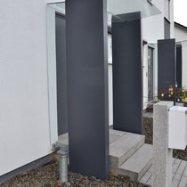 tragende Säulen aus Aluminium (nasslackiert) - Glas VSG 12 mm stark