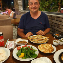 Sober Captain Soner at diner in Kusadasi
