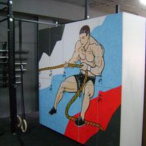 Роспись мебели (шкафчики в мужскую раздевалку).
