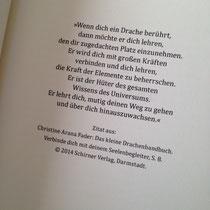 Das Zitat zu Beginn des Romans, mit freundlicher Genehmigung des Schirner Verlags
