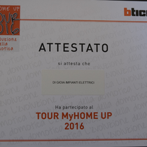 Attestato Tour MyHome UP 2016