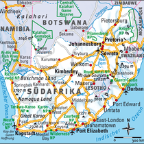 Südafrika mit blaugrauer Schummerung