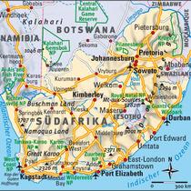 Südafrika mit brauner Schummerung