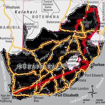 Südafrika farbreduziert zur Betonung einer Reiseroute