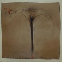 arbre lunaire et semences d'amour volant au vent sous une étoile - technique mixte - 80x80cm