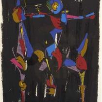 MARINO MARINI, Bunter Reiter I, Orig. Farblithografie, Wvz 332, 1975, X/L, handsigniert