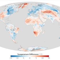 Quelle: NASA,  image from the MODIS sensor on the Aqua satellite | Temperaturanomalie zwischen dem 14. und 20 März 2013. (Vergleichszeitraum: 2005 bis 2012)