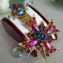 P-1706. Винтажная брошь-орден от лакшери бренда FLORENZA. Ювелирный сплав оттенка античного золота, австрийские кристаллы. Длина 10см.