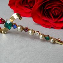 P-1754. Винтажная брошь шпага из стерлингового серебра с покрытием золотом vermail от американского бренда CORO. Декор хрустальными кристаллами, маркирована, 40е года. идеальная сохранность. Длина 8.5см.