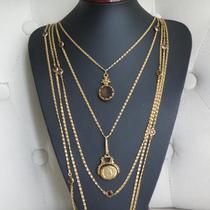 P-1626. Винтажное колье от марки GOLDETTE . изготовлено в конце 50х годов, маркировано. Колье из 5 нитей, с базельскими кристаллами, инталией и подвеской-медальоном. Ювелирный сплав оттенка античного золота, прекрасная сохранность.