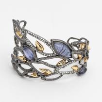 P-1645. Ассиметричный браслет с голубыми лабрадоритами. Позолота 24К,черный рутений, ручная работа, клеймо дизайнера. Коллекция осень-зима 2014-2015, линия Элементы, Alexis Bittar,