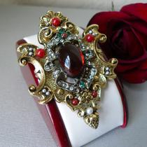 P-1791. Коллекционная брошь-кулон от американского винтажного бренда ART в редчайшем рубиновом оттенке. Ювелирный сплав с чернением, кристаллы и кабошоны, размер 8х5см. Маркировка, идеальная сохранность.