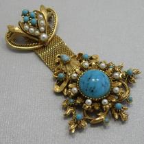Винтажная брошь-орден от лакшери бренда FLORENZA. Ювелирный сплав оттенка античного золота, австрийские кристаллы. Длина 8см.