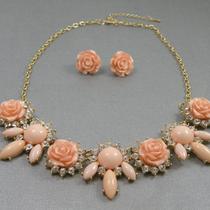 """232.Дизайнерский комплект """"Pink rose"""". Ювелирный сплав под золото, кристаллы Сваровски. Цена-15$"""
