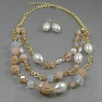 """P-1611. Дизайнерский комплект """"French rivera"""". Ювелирный сплав под золото, граненные австрийские бусины из хрусталя, кристаллы Сваровски. Смотрится очень красиво и нарядно!"""