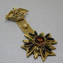 P-1669. Винтажная брошь-орден от лакшери бренда FLORENZA. Ювелирный сплав оттенка античного золота, австрийские кристаллы. Такая же брошь есть в коллекции у Мaдлен Олбрайт, фото по запросу. Длина 8см.