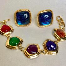 Леденцовые украшения от Кеннет Лэйна, браслет т серьги-клипсы из коллекции Каприанти для Avon.