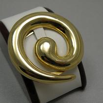 P-1627. Винтажный зажим для платка в форме спирали. Ювелирный под золото. Диаметр-7см.
