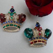 P-1750.  великолепные большие серебряные короны от Alfred Philippe для TRIFARI 1944г. Идеальная сохранность, что уже редкость для украшений такого возраста. Полная маркировка, позолота vermail. Book piece!