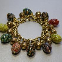 P-1708.Винтажные браслет с яйцами миллефиори от бренда ART.