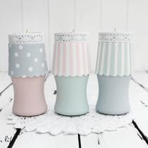 dekolampen mit teelichthalter aus marmeladengläsern... (rosa leider vergeben) pro stück...  (ohne deko)