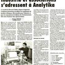Industries et associations s'adressent à Analytika (Var-Matin 21-03-2005)