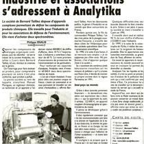 Industries et associations s'adressent à Analytika (Var-Matin 21-03-2005)