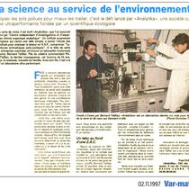 La science au service de l'Environnement (Var-Matin 02-11-1997)