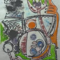 1972, o.T., 37 x 48, Wachsfarbendruck, Privatbesitz Bonn-Alfter