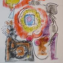 1972,o.T., 34 x 37, Wachsfarbendruck