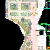 Plan masse du jardin dédié aux patients et à leurs familles
