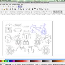 Schritt 3: Gescannte Datei bei Inkscape importieren und alle Linien nachmalen. Speichern als SVG Datei.