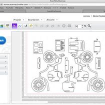 Schritt 4: Bei Brother Canvas die SVG Datei importieren. Für den Plotter so anordnen, dass möglichst wenig Papierverschnitt da ist. Weil die Reifen sehr filigran sind, wurde das Modell vergrößert - ob der Hobbyplotter das schafft?