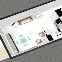 Plan en 3D vue séjour