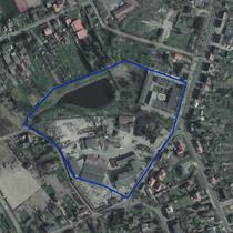 Zdjęcie satelitarne obszaru Wójtostwa z konturem posiadłości Trąbczyńskich