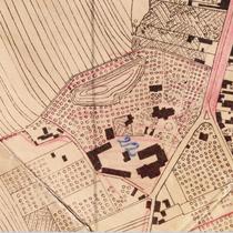 Teren Wójtostwa na planie Sieradza z 1934 r. Widoczny Pałac, browar, budynki gospodarcze, domek ogrodnika, staw i ogród przy pałacu.