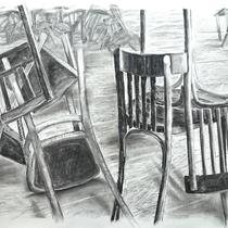 Corona 8 (Lockdown), Zeichnung Kohle auf Papier, 100x165cm, 2020