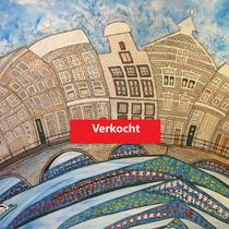 AMSTERDAM uit de serie Stadssonnetten - acrylverf op doek -  90 x 120  - houten baklijst - verkoopprijs € 1195