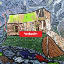 LAAKSUM  kleinste haven van Europa - acrylverf op doek - 25 x 25  - verkoopprijs  €  80