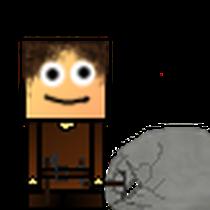 Fred schlägt auf einen Stein ein (ebenfalls ein Animationsauschnitt)