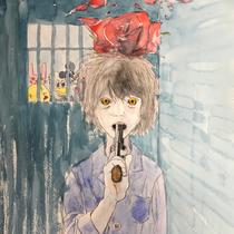 2018  size F8 Water Color  hikikomori